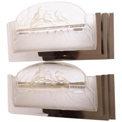 Pair of French Art Deco Skyscraper Sconces Signed by Muller Frères Luneville