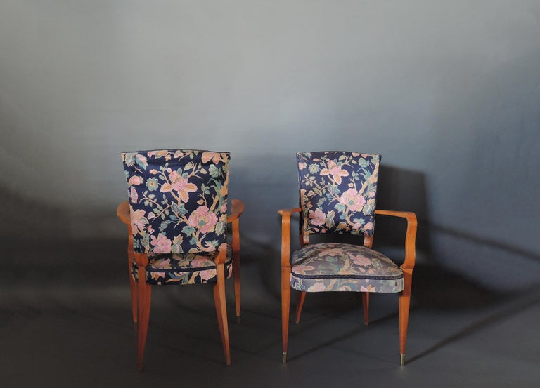 Pair of French Art Deco Stained Beech Armchairs In Good Condition For Sale In Long Island City, NY