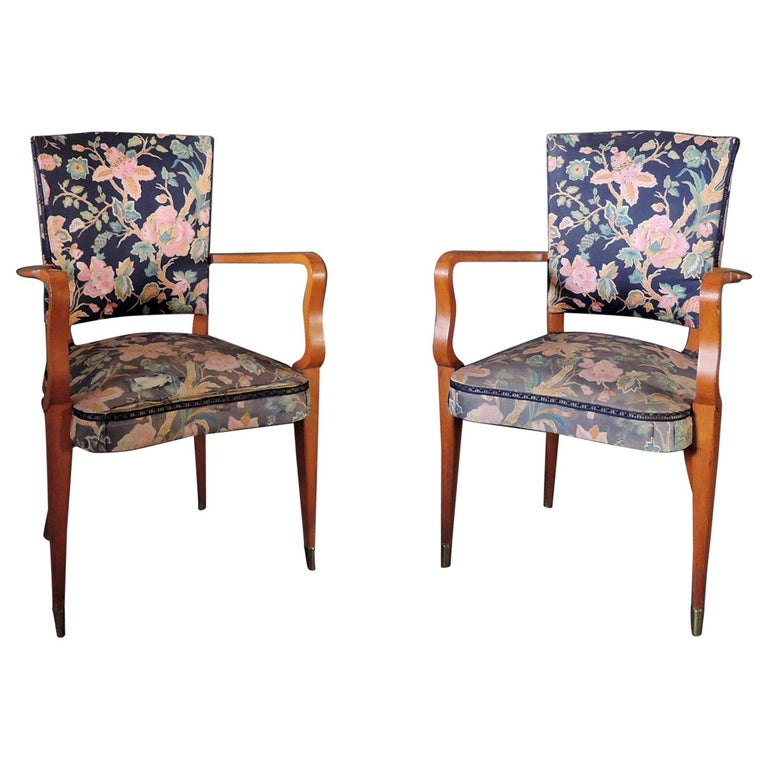 Pair of French Art Deco Stained Beech Armchairs For Sale
