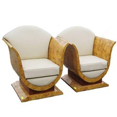 Pair of French Art Deco Style Burled Olive Wood Lounge Chairs