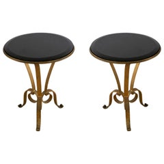 Pair of French Art Deco Style Gilt Metal and Black Marble Circular Tables