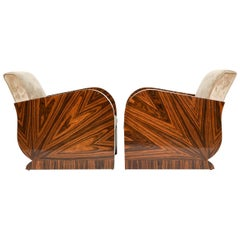 Pair of French Art Deco Style Zebra Wood Lounge Chairs