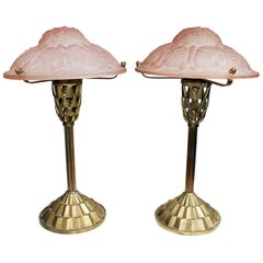"""Pair of French Art Deco Table Lamp Signed """"Degué"""""""