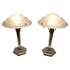 "Pair of French Art Deco Table Lamp Signed ""Degué"""