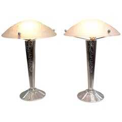 """Pair of French Art Deco Table Lamp Signed """"Muller Frères Luneville"""""""