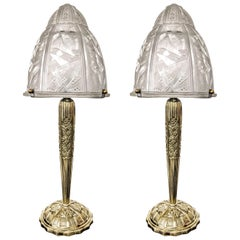 Pair of French Art Deco Table Lamps by Muller Frères