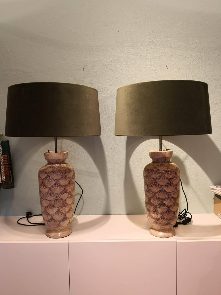 Pair of French Art Deco Table Lamps Ceramic 11