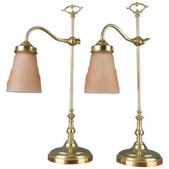 Pair of French Art Deco Table Lamps with Pink Signed Muller Frères Glass Shades