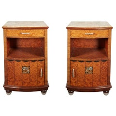 Pair of French Art Deco Thuya Wood Night/ Side Tables, Maurice Dufrène