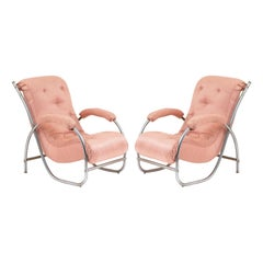 Pair of French Art Deco Tubular Armchairs