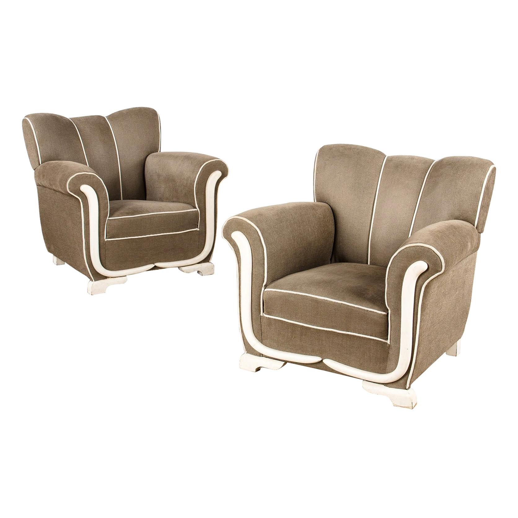 Pair of French Art Deco Upholstered Armchairs, 1940s