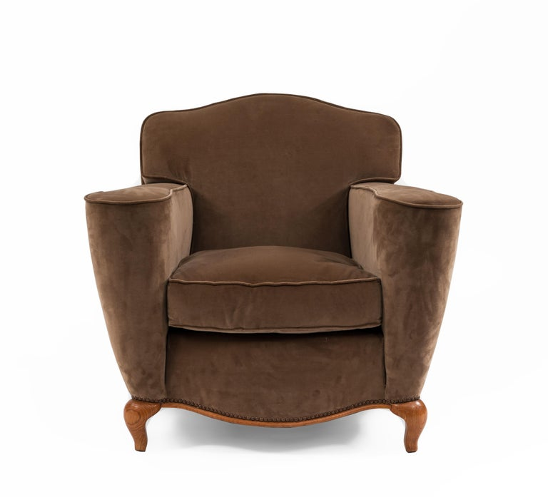 Mid-20th Century Pair of French Art Deco Upholstered Club Chairs For Sale