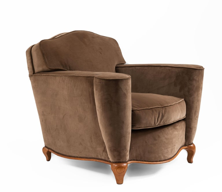 Pair of French Art Deco Upholstered Club Chairs For Sale 1