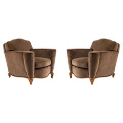 Pair of French Art Deco Upholstered Maple Club Chairs