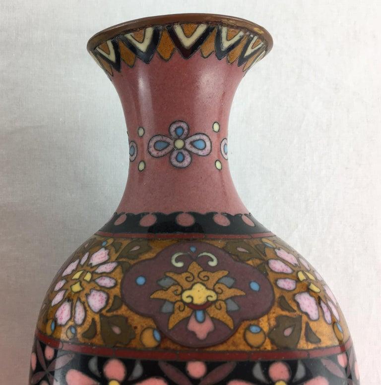 Cloissoné Pair of French Art Deco Vases Cloisonné, circa 1920s For Sale