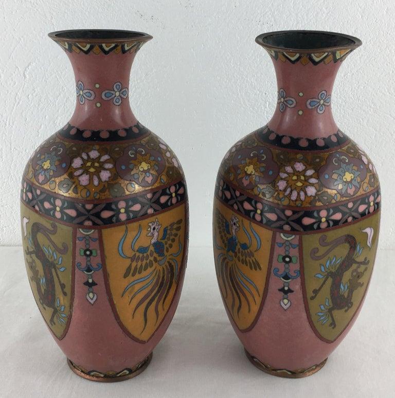 Enamel Pair of French Art Deco Vases Cloisonné, circa 1920s For Sale