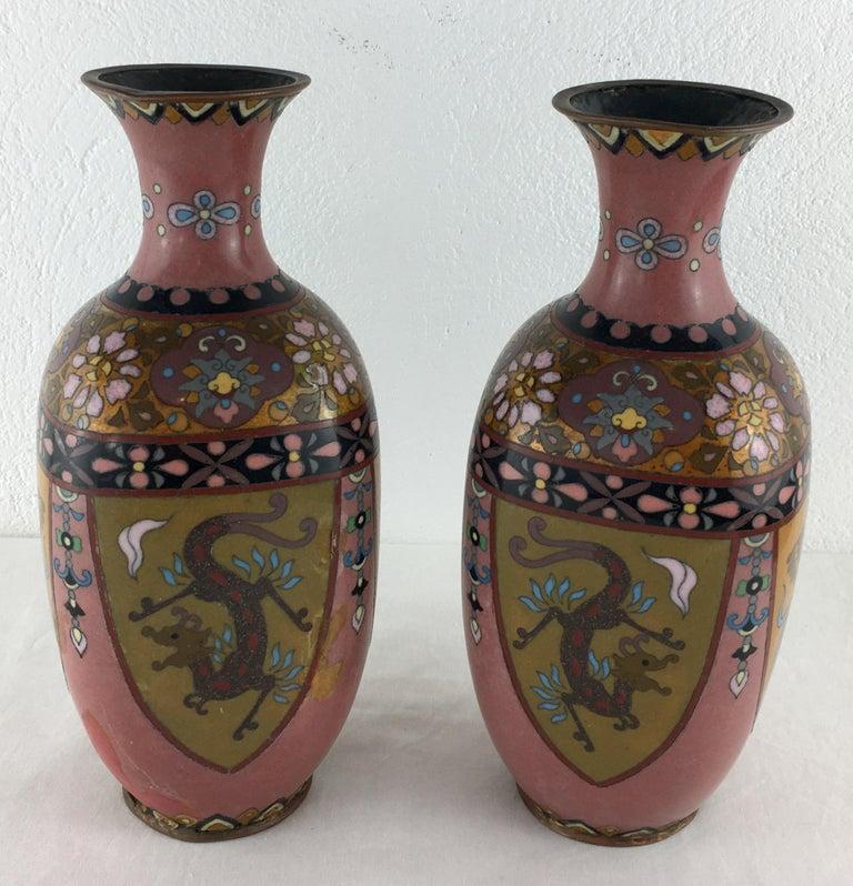 Pair of French Art Deco Vases Cloisonné, circa 1920s For Sale 3