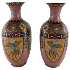 Pair of French Art Deco Vases Cloisonné, circa 1920s