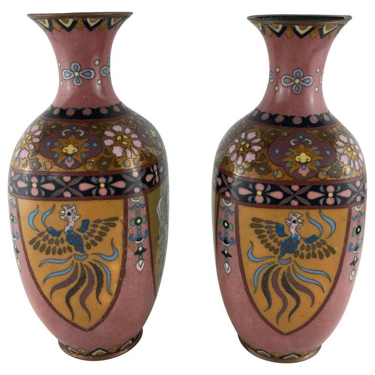 Pair of French Art Deco Vases Cloisonné, circa 1920s For Sale