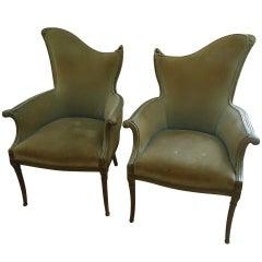 Pair of French Art Deco Velvet Armchairs