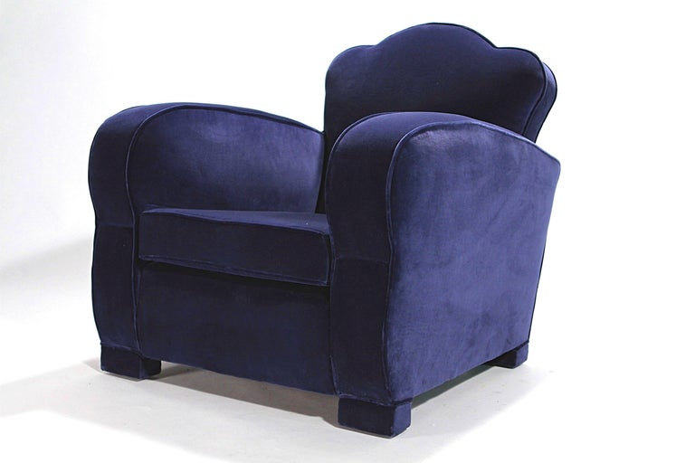 Pair of French Art Deco Velvet Club Armchairs, 1940s For Sale 2