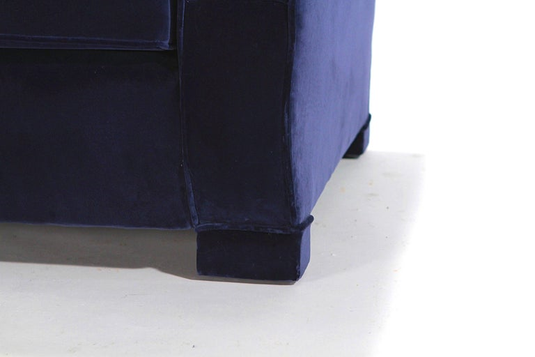 Pair of French Art Deco Velvet Club Armchairs, 1940s For Sale 3