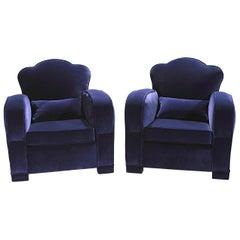 Pair of French Art Deco Velvet Club Armchairs, 1940s