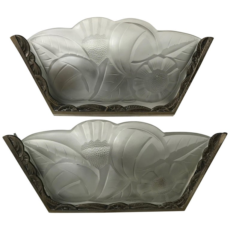 Pair of French Art Deco Wall Sconces by Degue For Sale