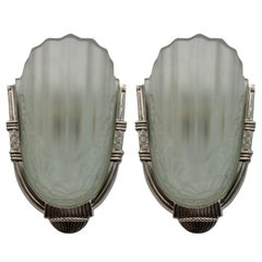 Pair of French Art Deco Wall Sconces by Degue