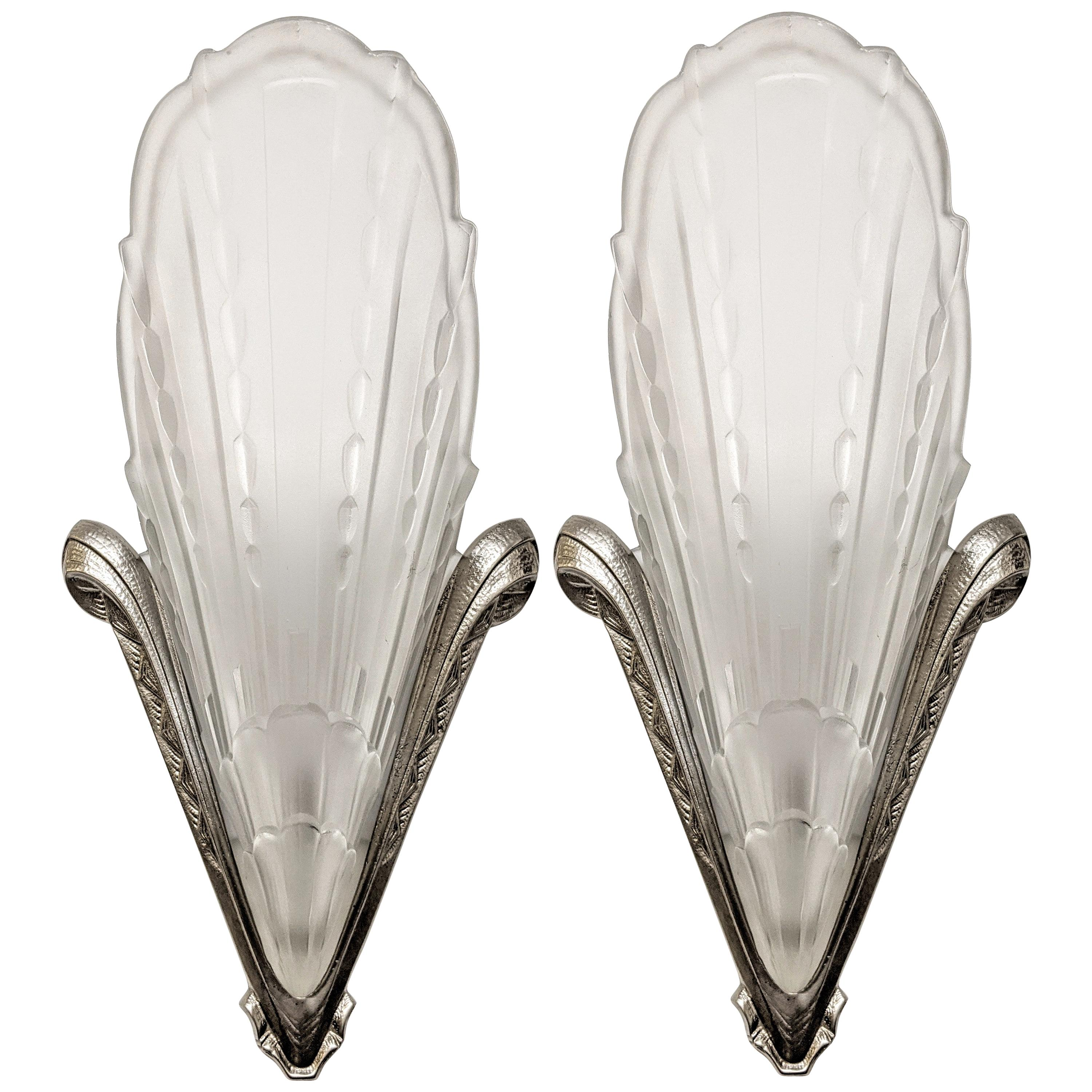 Pair of French Art Deco Wall Sconces by E.J.G.