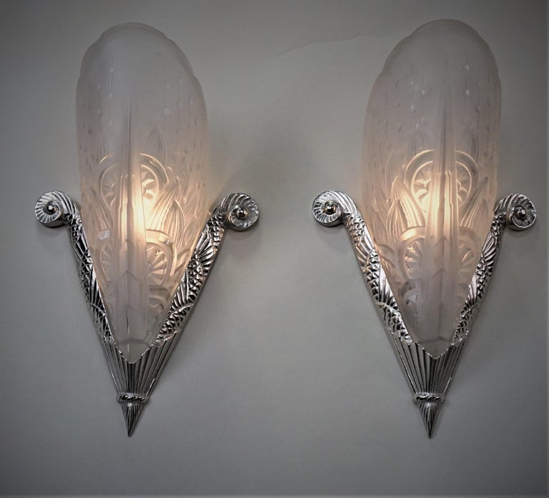 Pair of French Art Deco Wall Sconces by Lorraine Nancy In Good Condition For Sale In Fairfax, VA