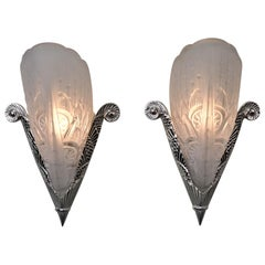 Pair of French Art Deco Wall Sconces by Lorraine Nancy
