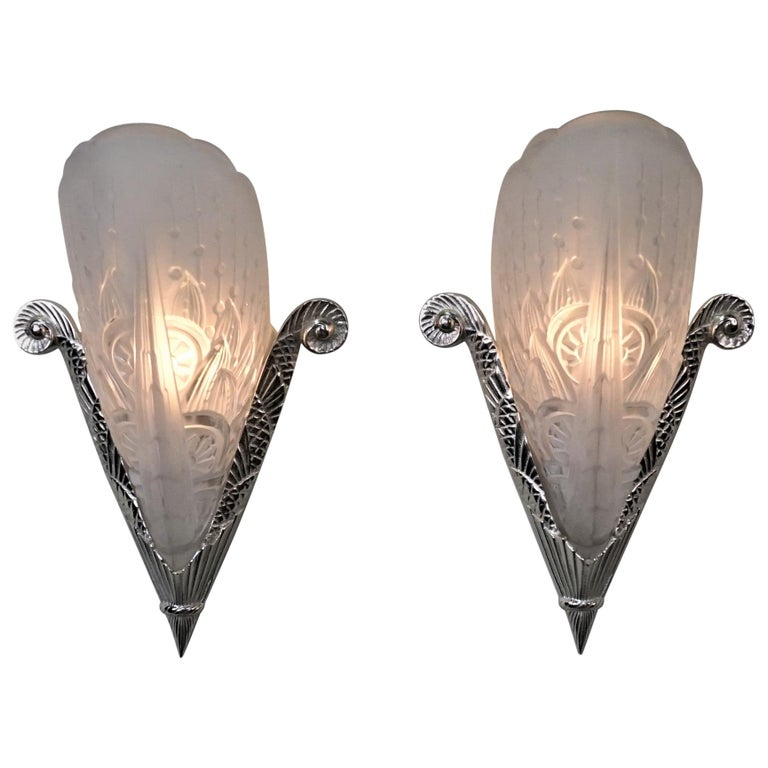 Pair of French Art Deco Wall Sconces by Lorraine Nancy For Sale