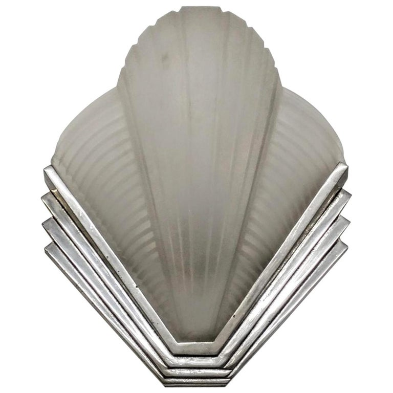 Pair of French Art Deco Wall Sconces by Petitot For Sale