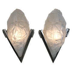 Pair of French Art Deco Wall Sconces Signed by Degué