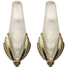 Pair of French Art Deco Wall Sconces Signed by Hanots