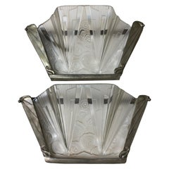 Pair of French Art Deco Wall Sconces Signed by Hettier Vincent