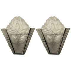 Pair of French Art Deco Wall Sconces Signed by Sabino