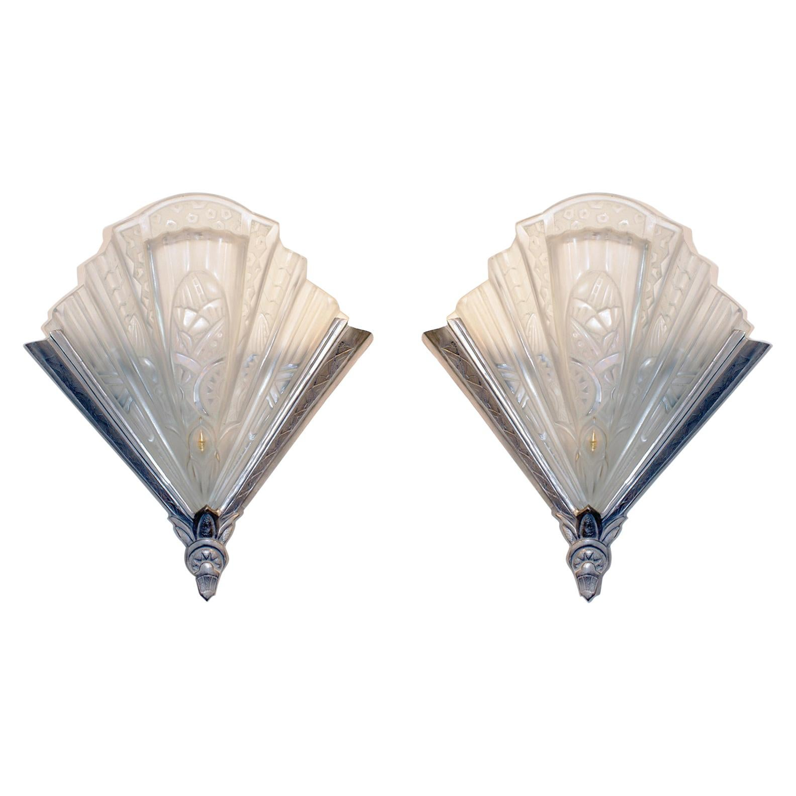 Pair of French Art Deco Wall Sconces Signed Frontisi
