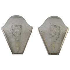 Pair of French Art Deco Wall Scones, Chrome with  Relief Frosted Glass