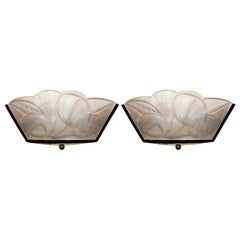 """Pair of French Art Deco Wall Scones Signed """"Degué"""""""