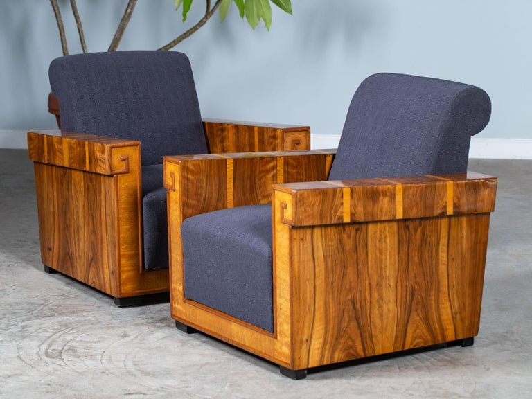 Pair of French Art Deco Walnut Maple Birch Armchairs, circa 1930 For Sale 7