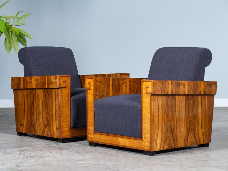 Pair of French Art Deco Walnut Maple Birch Armchairs, circa 1930 For Sale 9