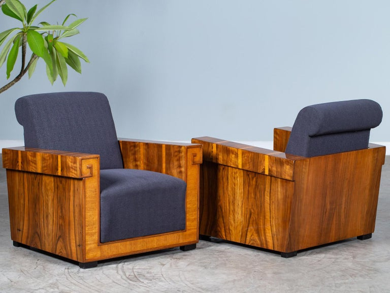 Pair of French Art Deco Walnut Maple Birch Armchairs, circa 1930 For Sale 11