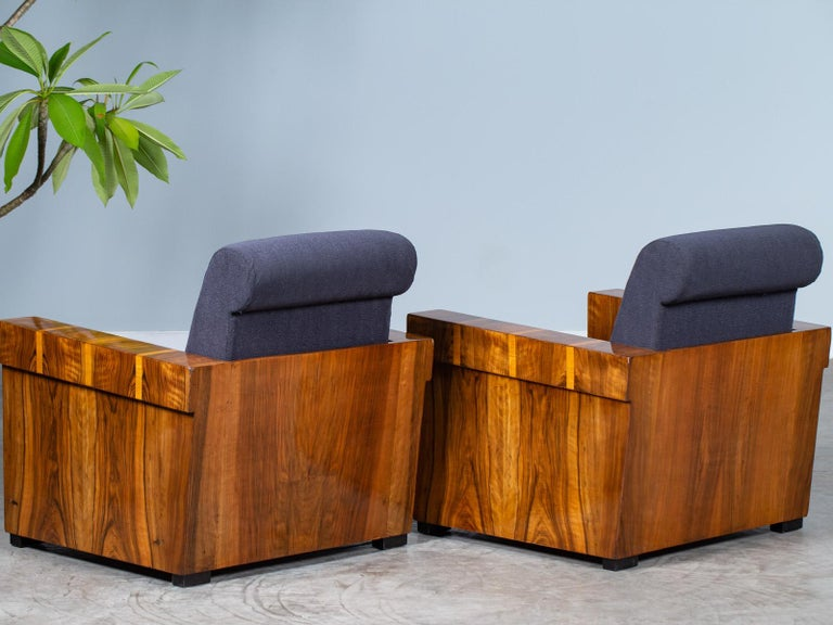 Pair of French Art Deco Walnut Maple Birch Armchairs, circa 1930 For Sale 12