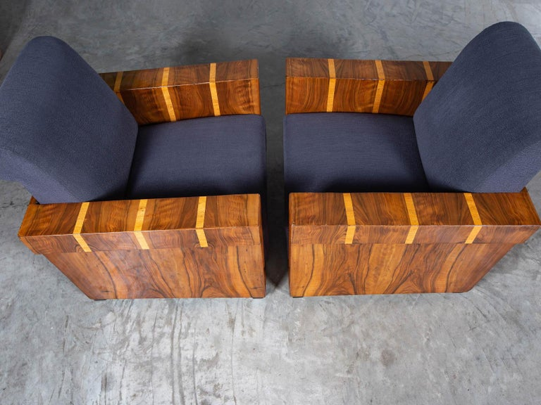 Pair of French Art Deco Walnut Maple Birch Armchairs, circa 1930 For Sale 13