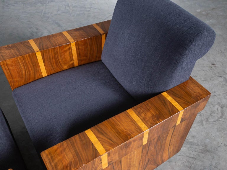 Pair of French Art Deco Walnut Maple Birch Armchairs, circa 1930 For Sale 14