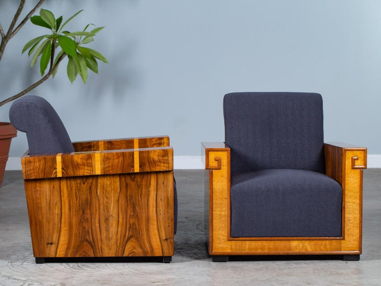 Pair of French Art Deco Walnut Maple Birch Armchairs, circa 1930 In Good Condition For Sale In Houston, TX