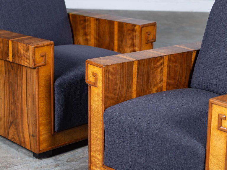 Mid-20th Century Pair of French Art Deco Walnut Maple Birch Armchairs, circa 1930 For Sale
