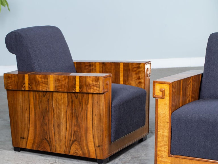 Pair of French Art Deco Walnut Maple Birch Armchairs, circa 1930 For Sale 1